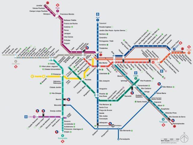 Mapa do Metrô em São Paulo