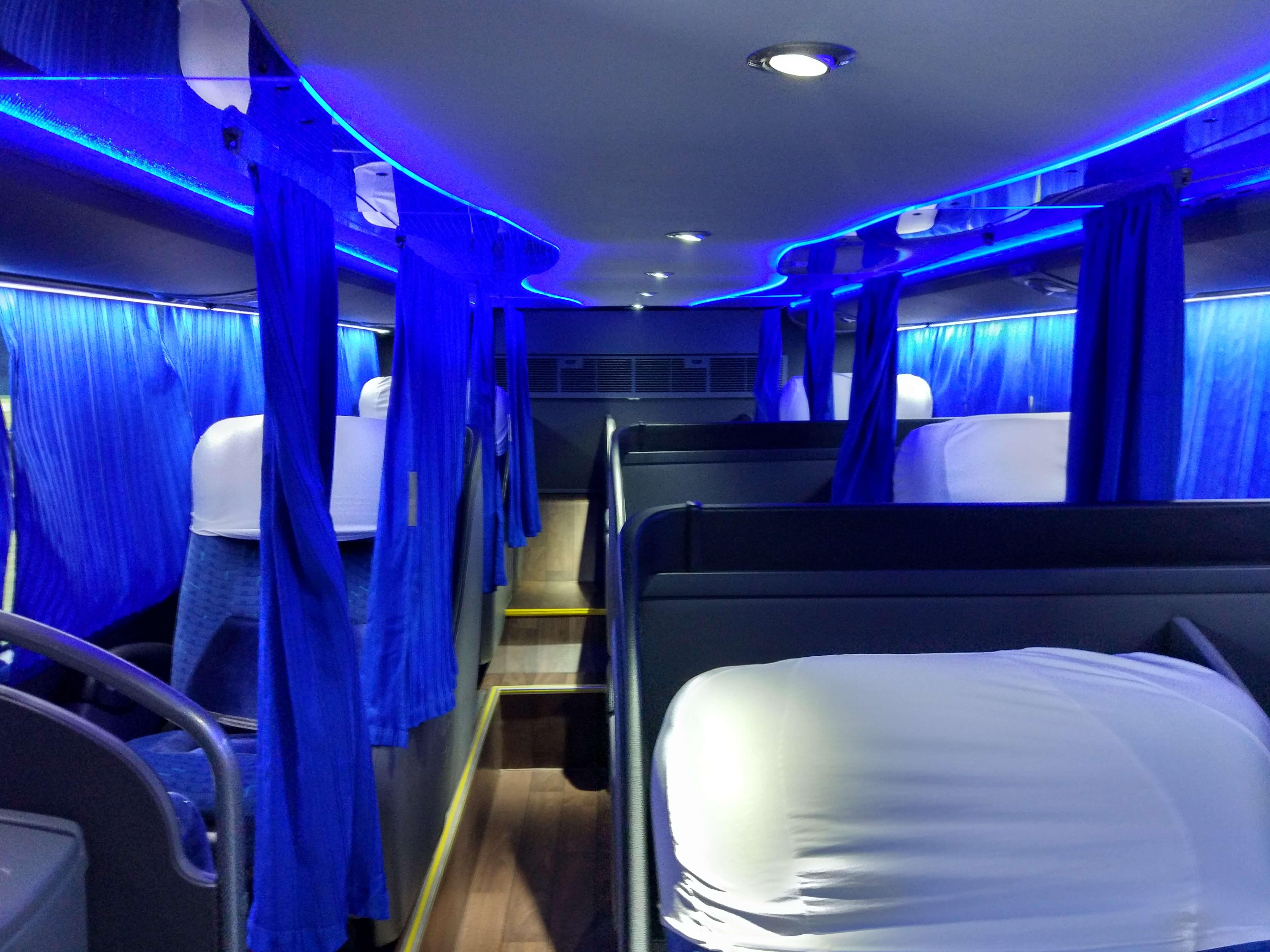 Interno do ônibus DD com leito-cama. Fonte: arquivo pessoal