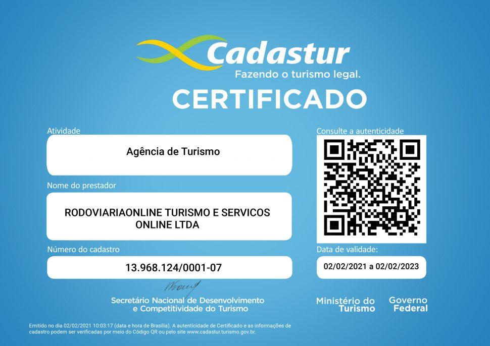 Certificado Cadastur Rodoviariaonline